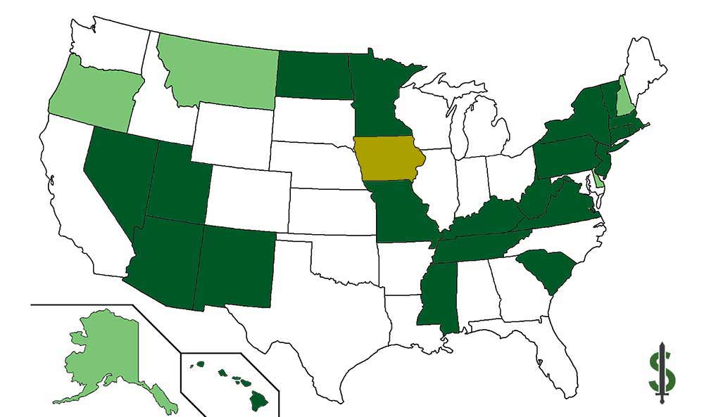 map of states where textbooks are tax free