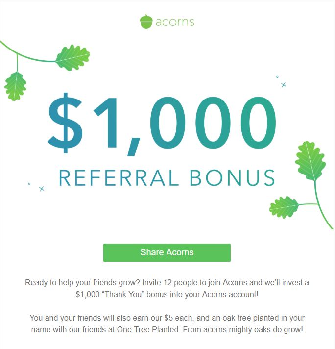 Acorns Referral Bonus May 2018