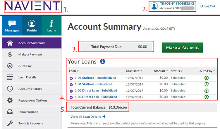 Anatomy of a Student Loan Account Summary