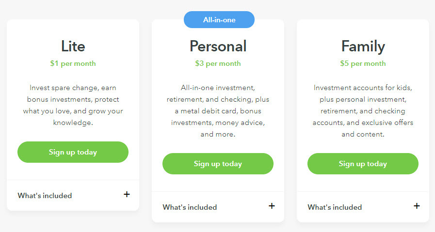 Acorns Investment App Pricing Plans