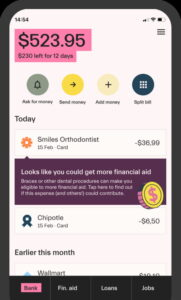 Mos Bank account for College Students Dashboard